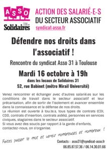 Rencontre syndicat ASSO @ Locaux de Solidaires 31