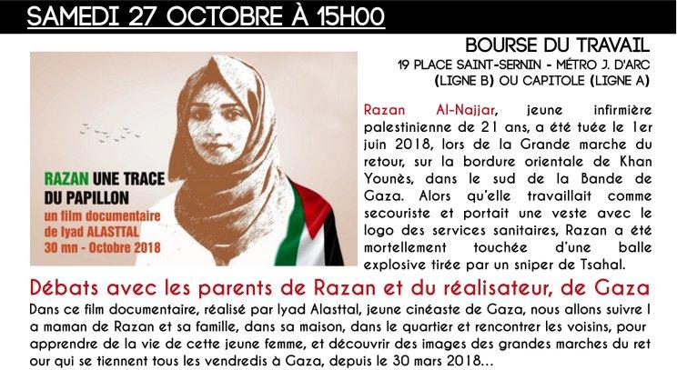 Razan documentaire Palestine @ Bourse du travail