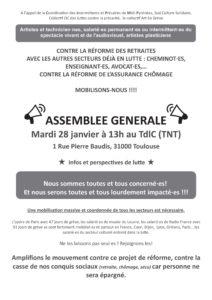 AG à l'appel de la CIP-MP, Sud culture, collectif OC et collectif Art en grève @ théâtre de la cité (TNT)